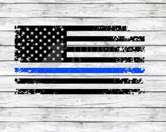 American Flag Thin Blue Line SVG, Police SVG, Distressed Flag SVG, Police Officer Support, Distressed Thin Blue Line Svg, Blue Lives Matter