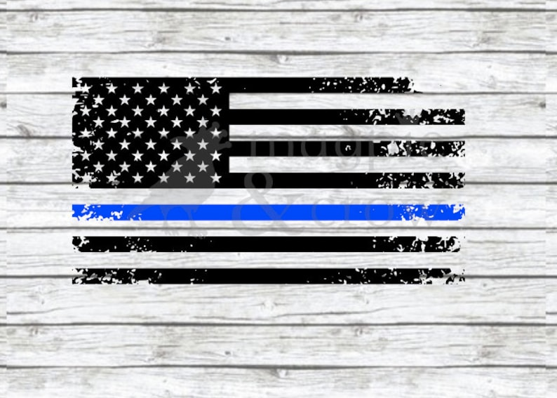 26677c35354 American Flag Thin Blue Line SVG Police SVG Distressed Flag