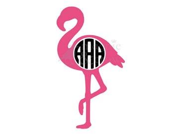 Flamingo SVG, Flamingo Monogram SVG, Monogram Frame SVG, Summer Svg, Tropical Svg, Bird Svg, Monogram Circle Svg, Flamingo Monogram Frame