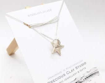 Star Pendant Cream- Sterling (short length)
