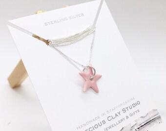 Star Pendant Pink- Sterling (short length)