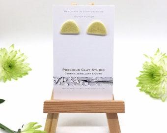 Half moon lemon studs- Silver Plated