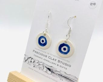 Blue circle print drop- Sterling Silver