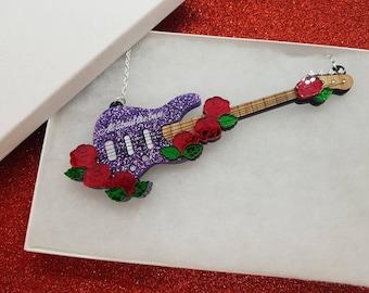 Bass guitar necklace - Purple Glitter