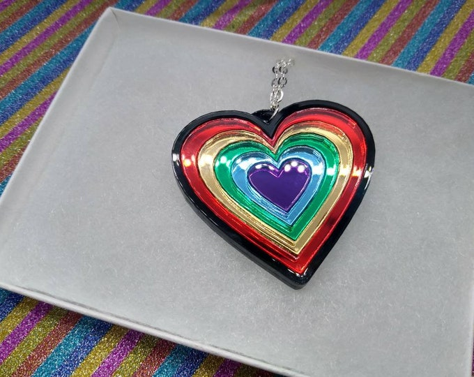 Featured listing image: Rainbow heart necklace