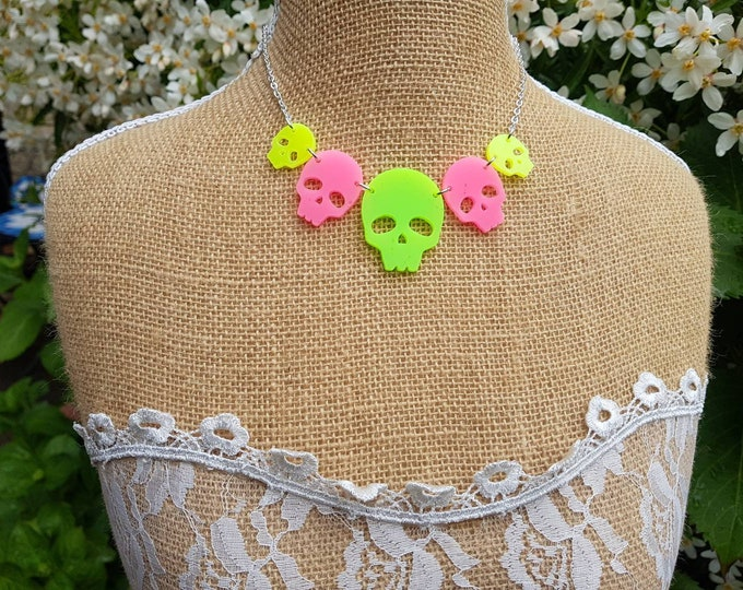 Featured listing image: Neon Skulls necklace