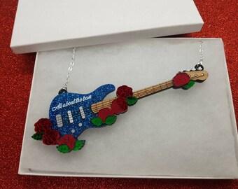 Bass Guitar Necklace Blue