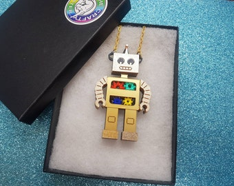 Robot Necklace Gold
