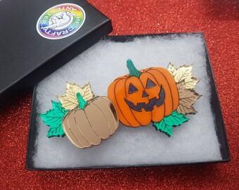 Pumpkin brooch,brooch,acrylic brooch,quirky brooch,lasercut brooch,Halloween,Halloween brooch,orange brooch,fun