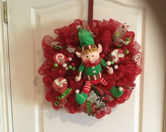 Elf Christmas deco mesh wreath