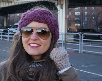 Crochet Braided Headband - Mauve/Fig