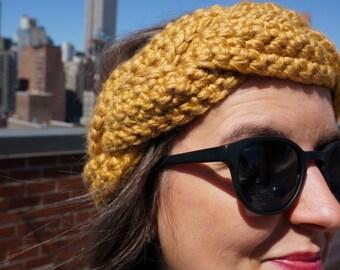 Crochet Braided Headband - Goldenrod/Mustard