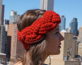 Crochet Braided Headband - Berry Red