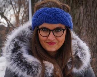 Crochet Braided Headband - Royal Blue