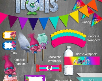 Trolls Party Printables, parties, printables, party ideas, kids party, trolls party