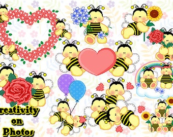 INSTANT Download. Litte Bee clip art. Personal and commercial use.