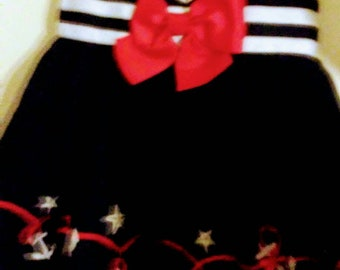100)% Cotton Handmade Pirate Dress for 12 months old baby girl.