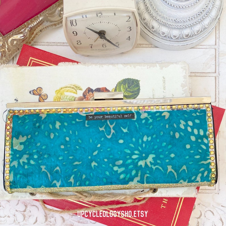 Artfully Upcycled vintage mid century modern wallet with Hello Beautiful embellishment