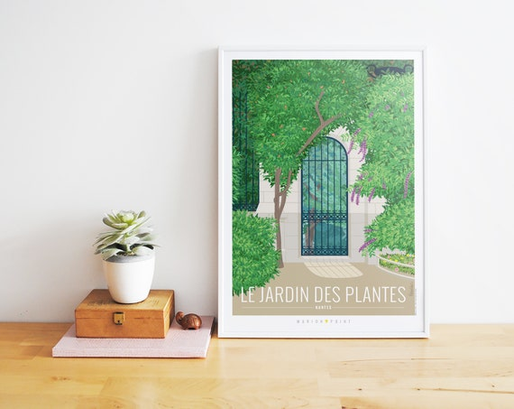 Nantes illustrée - Affiche A2 Jardin des Plantes // Illustration -  Décoration - Art mural - Marion Point
