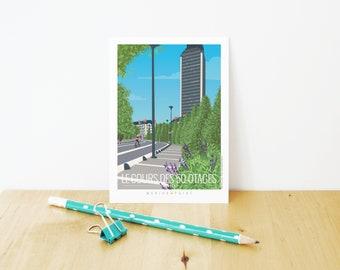 Nantes illustration - 50 otages - Tower - Tour Bretagne postcard - Marion Point