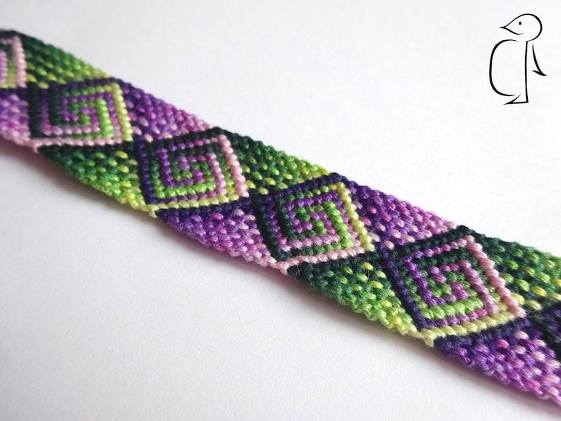 Thick green and purple plaid spiral pattern cotton friendship bracelet