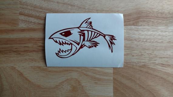 Fish Bones Skeleton Decal 2 Fishing Boat Car Truck Laptop Window Sticker Label