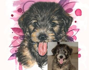 Personalized Pet Portrait Custom Pet portrait Watercolor Original Painting Custom watercolor dog portrait