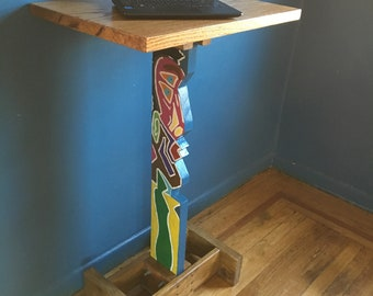 Stand Up Desk Art / Wooden Functional Two-sided Artwork / Cocktail Table