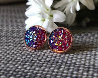 Geode earrings, druzy earrings, geode druzy earrings, crystal earrings, purple earrings, stud earrings, stone earrings, rose gold earrings