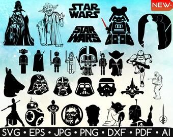64 Star Wars Silhouette • Star Wars Svg • Star Wars Printable • Easy To Cut • Jedi Svg • Yoda Svg • Darth Vader Svg • Silhouette • Digital