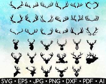 35 Deer Antler Svg • Deer Antler Silhouette • Deer Head Svg • Hunting and Fishing • Printable • Cut Files • Easy To Cut • Instant Download