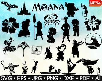 90 Moana Silhouette SVG  Bundle•Moana Svg •Maui Svg • Moana Clipart • Moana Printable • Easy To Cut • Cricut • Silhouette • Instant Download