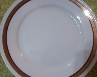 Bareuther 100 Jahre 39 Embossed Gold and Red Band Salad Plate