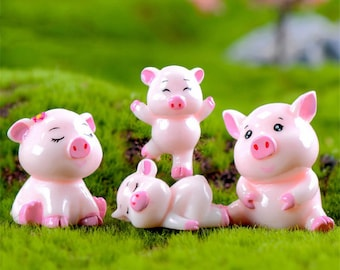 5Pcs Cute Pig Family Animal Model Figurine Miniature Fairy Garden Decoration ZF