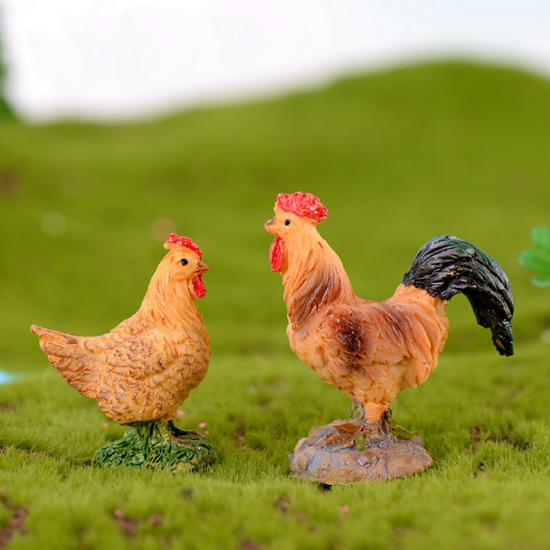 Miniature Dollhouse FAIRY GARDEN Rooster With Chickens Accessories