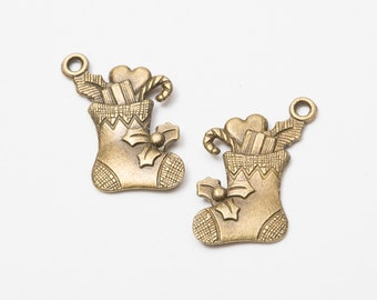 Christmas pendants etsy 2pcs ancient bronze christmas socksretro christmas pendantdiy alloy jewelry accessoriesjewelry pendantscabochon retro accessory material aloadofball Image collections
