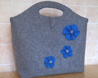 Felt Handbag With Flowers - Handmade Grey Bag For Women