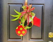 Grinch -like / Christmas Door Hanger/ Holiday Decor/ Personalize/ Swag/ Wall Decor/ Same Day Shipping/ Hand Painted/Gift Idea