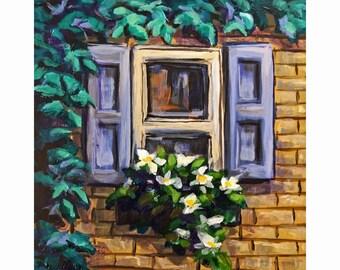 "Original Miniature Painting, ""Brick Cottage Window"""