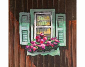 "Original Acrylic Miniature Painting, ""Brown Cottage Window"""