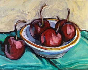 "Original Acrylic Miniature Painting, ""Cherries"""