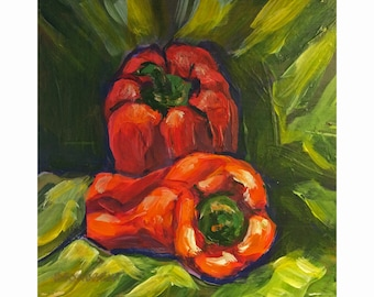 """Original Acrylic Miniature Painting, """"Red Peppers"""""""