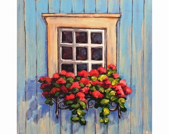 "Original Acrylic Miniature Painting, ""Blue Cottage Window"""