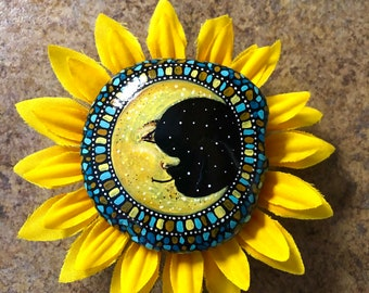 Hand painted rock stay wild moon child by Inspirationrocks4u