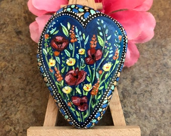 Hand painted rock bloom where you're planted florals from Inspirationrocks4u