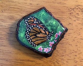 Monarch butterfly original hand painted rock