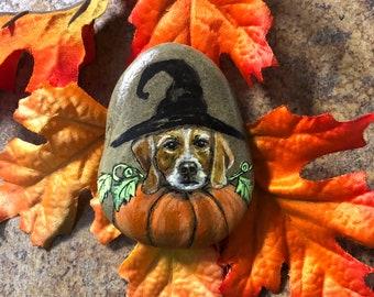 Hand painted rock Witch Dog portrait  by inspirationrocks4u