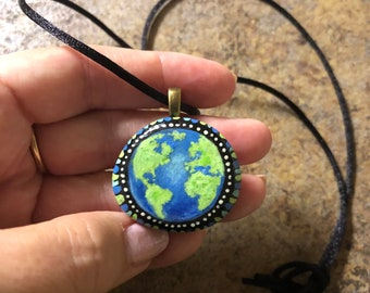 Hand painted rock pendant planet earth  necklace by Inspirationrocks4u