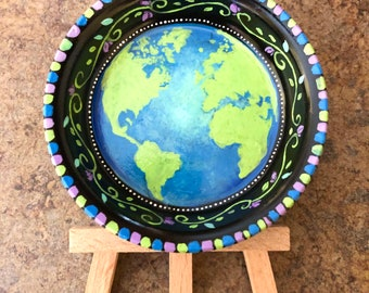 Hand painted trinket jewelry dish from Inspirationrocks4u save planet earth