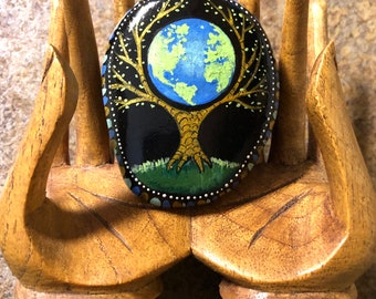 hand painted rock save the planet tree of life  from Inspirationrocks4u